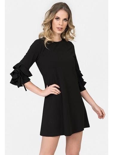 Kolları Volanlı Mini Elbise-İroni